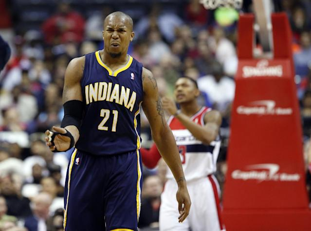 Indiana Pacers forward David West (21) reacts after a foul call in the first half of an NBA basketball game against the Washington Wizards, Friday, March 28, 2014, in Washington. (AP Photo/Alex Brandon)