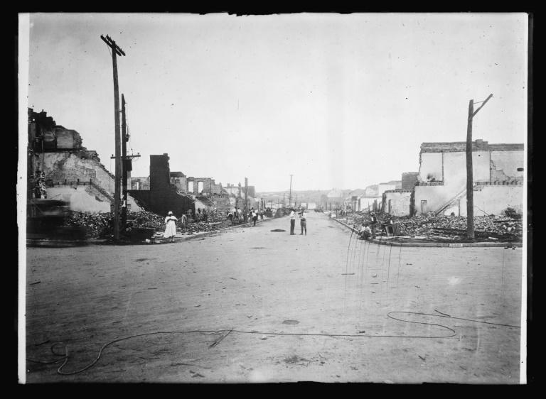 This image obtained from the American National Red Cross photograph collection at the US Library of Congress, shows Tulsa, Oklahoma, during the May 31 and June 1, 1921, riots when mobs of white residents attacked black residents and businesses of the Greenwood District of the city