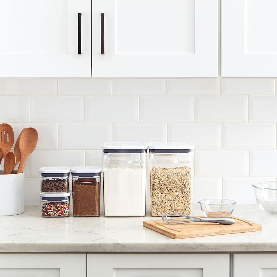 "<p>Speaking of organization, this set is the best thing to happen to my pantry. I keep my flour and sugar in the big ones, and sprinkles, nuts, and chocolate chips in the smaller guys. If you're not looking to invest in so many, you simply must get the <a href=""https://www.oxo.com/oxo-pop-brown-sugar-keeper.html"" rel=""nofollow noopener"" target=""_blank"" data-ylk=""slk:brown sugar saver"" class=""link rapid-noclick-resp"">brown sugar saver</a>. The small piece of terracotta, which you soak in water every few weeks, keeps your sugar from getting clumpy and hard. It's incredible.</p> <p><strong>Buy it!</strong> $60 (for 8 pieces), <a href=""https://oxo.x57o.net/c/249354/577714/9558?subId1=PEOOurFavoriteBakingToolsforCakeDecoratingandBeyondacalderone1271FooGal12569311202102I&u=https%3A%2F%2Fwww.oxo.com%2Fcategories%2Fcooking-and-baking%2Ffood-containers%2Foxo-pop-container-8-piece-baking-set.html%23"" rel=""nofollow noopener"" target=""_blank"" data-ylk=""slk:oxo.com"" class=""link rapid-noclick-resp"">oxo.com</a></p>"