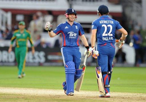 England batsmen Craig Kieswetter (R) and Eoin Morgan celebrate after hitting the winning runs during their 4th ODI against South Africa on September 2. Sunday's success gave England a 2-1 lead in a five-match campaign heading into Wednesday's finale in Nottingham