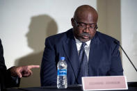 """Gilvanni Johnson, a former University of Michigan football player, speaks about his experiences as a survivor of sexual assault by the teams longtime doctor Robert E. Anderson on Thursday, June 10, 2021, during a press conference in Novi, Mich. One of legendary University of Michigan football coach Bo Schembechler's sons and two of his former players described in detail Thursday how they were molested by the team's longtime doctor and how Schembechler turned a blind eye when they told him about the abuse, telling one to """"toughen up"""" and punching his son in anger. (Jake May/The Flint Journal via AP)"""
