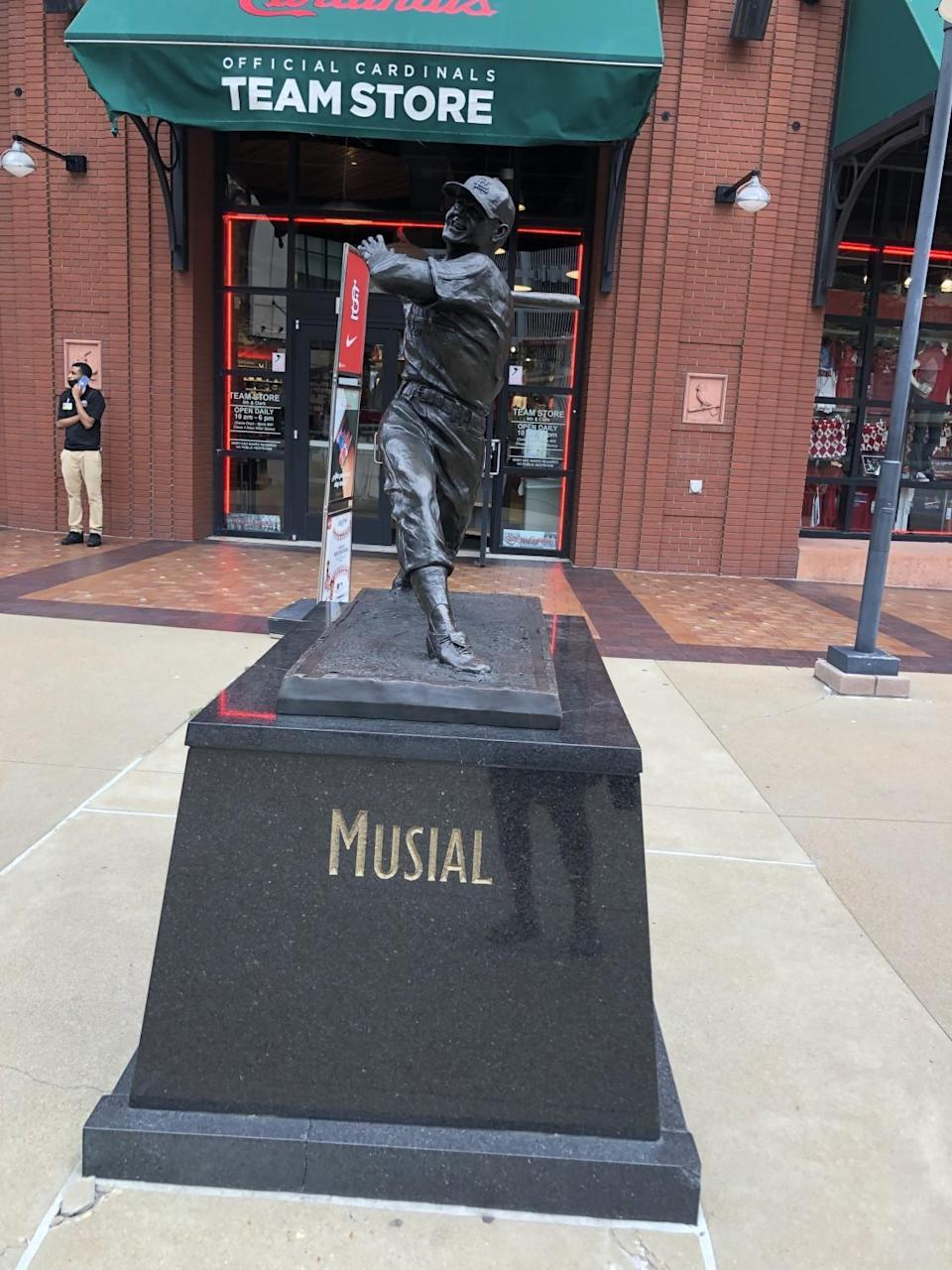 Statue of Stan Musial in St. Louis outside Busch Stadium.