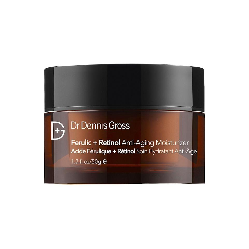 """<p><strong>Dr. Dennis Gross Skincare</strong></p><p>sephora.com</p><p><strong>$75.00</strong></p><p><a href=""""https://go.redirectingat.com?id=74968X1596630&url=https%3A%2F%2Fwww.sephora.com%2Fproduct%2Fferulic-retinol-anti-aging-moisturizer-P384536&sref=https%3A%2F%2Fwww.marieclaire.com%2Fbeauty%2Fg35067108%2Fferulic-adic-guide%2F"""" rel=""""nofollow noopener"""" target=""""_blank"""" data-ylk=""""slk:SHOP IT"""" class=""""link rapid-noclick-resp"""">SHOP IT </a></p><p>Behold, a skin-revitalizing gem. Formulated with ferulic acid, retinol, and Dr. Gross's corrective ECG Complex, this heavy-duty moisturizer works to fade dark spots, improve the skin's moisture barrier, smooth uneven texture, and reverse general signs of aging. </p>"""