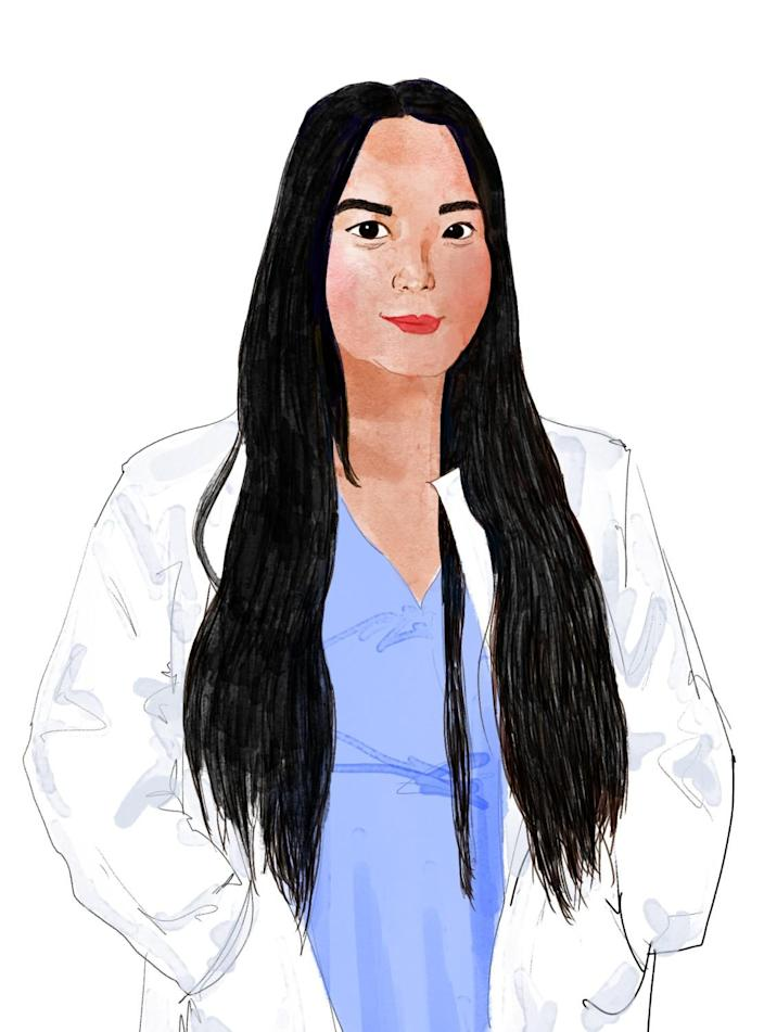 Illustration of Mindy Hoang in a white coat