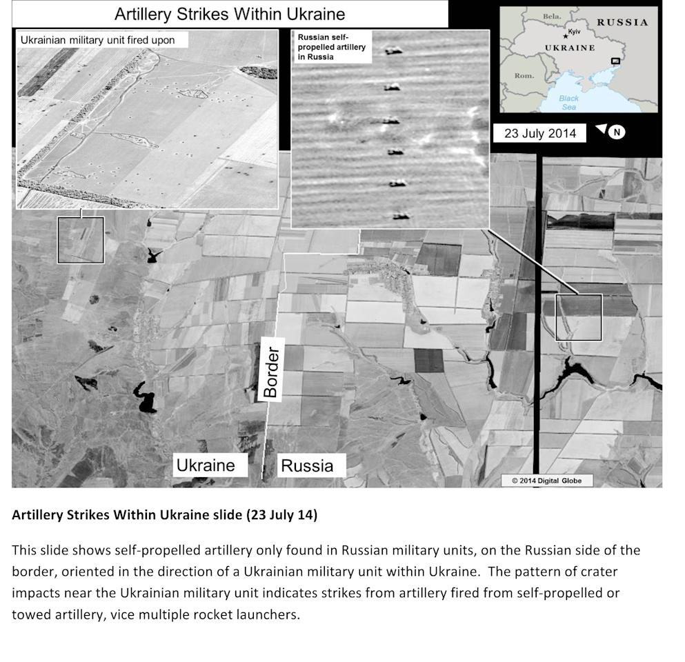 This second page of a four page document released by the U.S. State Department in Washington, July 27, 2014 shows a satellite image that purports to shows self propelled artillery only found in Russian military units, on the Russian side of the border, oriented in the direction of a Ukrainian military unit within Ukraine. The United States says the images back up its claims that rockets have been fired from Russia into eastern Ukraine and heavy artillery for separatists has also crossed the border. (AP Photo/U.S. State Department)