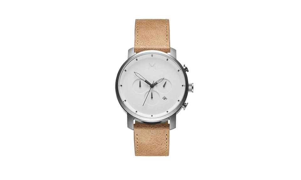 """<p>White Caramel Chrono Series 45 mm, $135, <a rel=""""nofollow noopener"""" href=""""https://www.mvmtwatches.com/collections/best-sellers/products/chrono-white-caramel-leather"""" target=""""_blank"""" data-ylk=""""slk:mvmtwatches.com"""" class=""""link rapid-noclick-resp"""">mvmtwatches.com</a> </p>"""