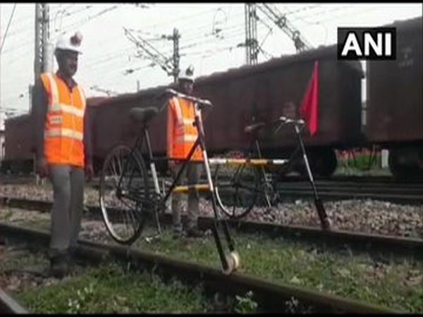 A track cycle has been made for inspection staff by Prayagraj division of North Central Railways at a cost of Rs 3,000. [Photo/ANI]