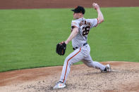 San Francisco Giants' Anthony DeSclafani throws during the second inning of a baseball game against the Cincinnati Reds in Cincinnati, Tuesday, May 18, 2021. (AP Photo/Aaron Doster)