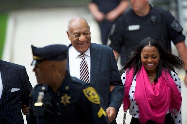 A smiley Bill Cosby and Keshia Knight Pulliam arrived at the Montgomery County Courthouse for the opening of his sexual assault trial in Norristown, Pa. on June 5. (Photo: Mark Makela/Getty Images)