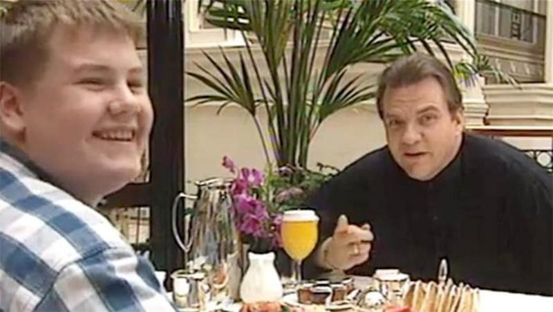 A young James Corden and Meat Loaf. Source: YouTube
