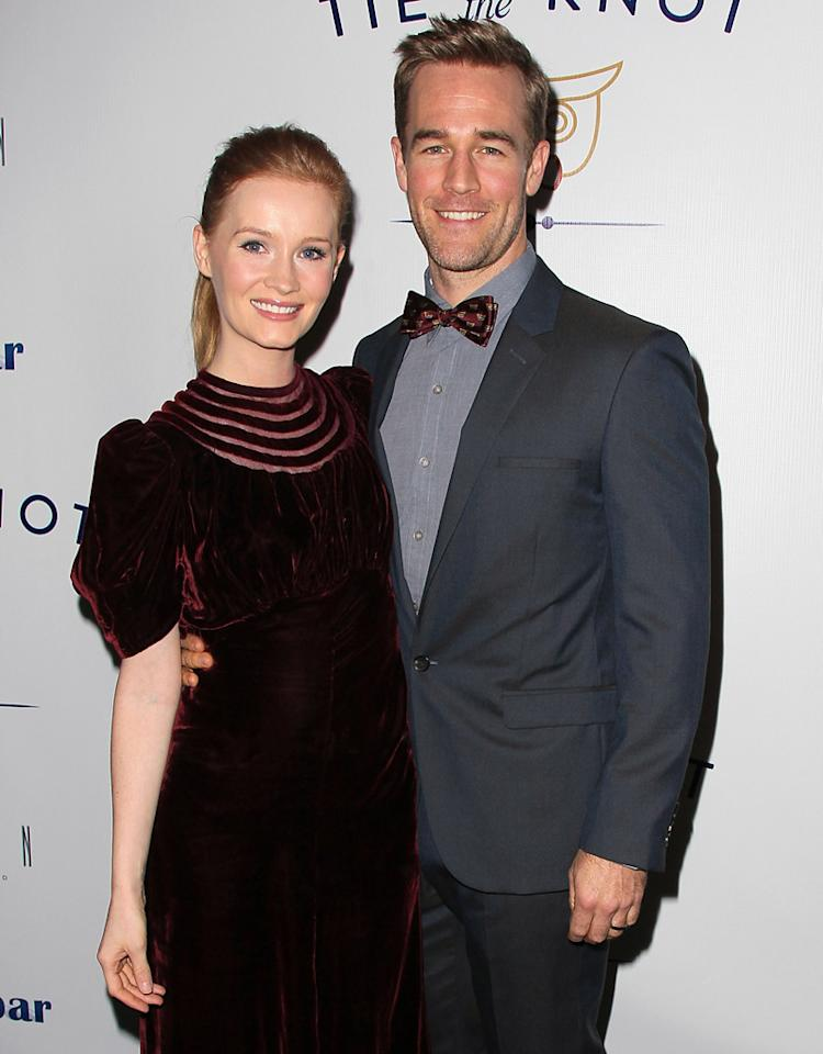 WEST HOLLYWOOD, CA - NOVEMBER 14:  Actor James Van Der Beek (L) and wife Kimberly Van Der Beek attend the launch of Tie The Knot hosted by Jesse Tyler Ferguson and his partner Justin Mikita at The London West Hollywood on November 14, 2012 in West Hollywood, California.  (Photo by David Livingston/Getty Images)