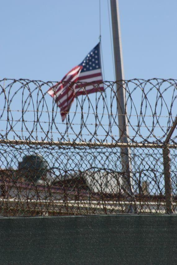 A flag flying over Guantanamo's Camp Six flys at half staff in honor of victims of Boston Marathon massacre.