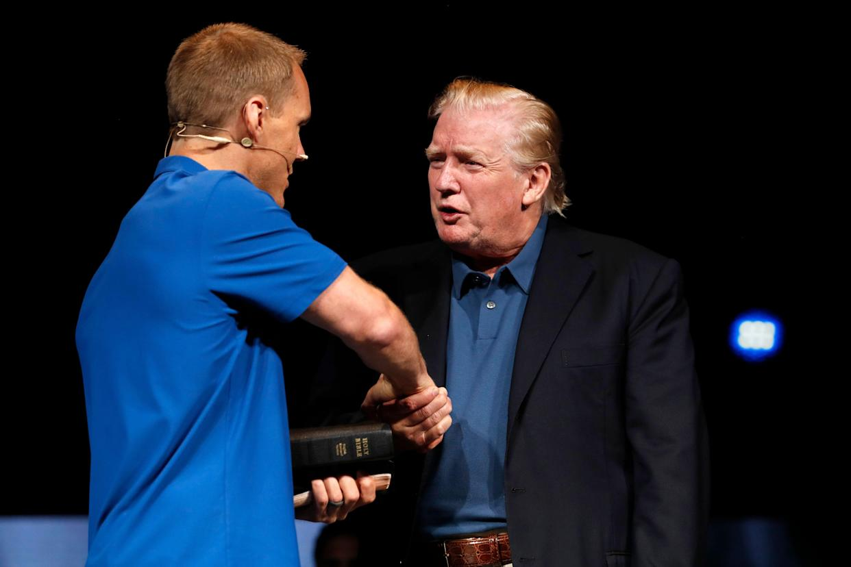 President Trump shakes hands with David Platt after receiving a prayer at McLean Bible Church in Vienna, Va., June 2. (Photo: Jacquelyn Martin/AP)