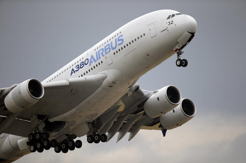 FILE - In this June 18, 2015 filephoto, an Airbus A380 takes off for its demonstration flight at the Paris Air Show, in Le Bourget airport, north of Paris. The World Trade Organization says the United States can impose tariffs on up to $7.5 billion worth of goods from the European Union as retaliation for illegal subsidies to European plane-maker Airbus — a record award from the trade body. (AP Photo/Francois Mori, File)
