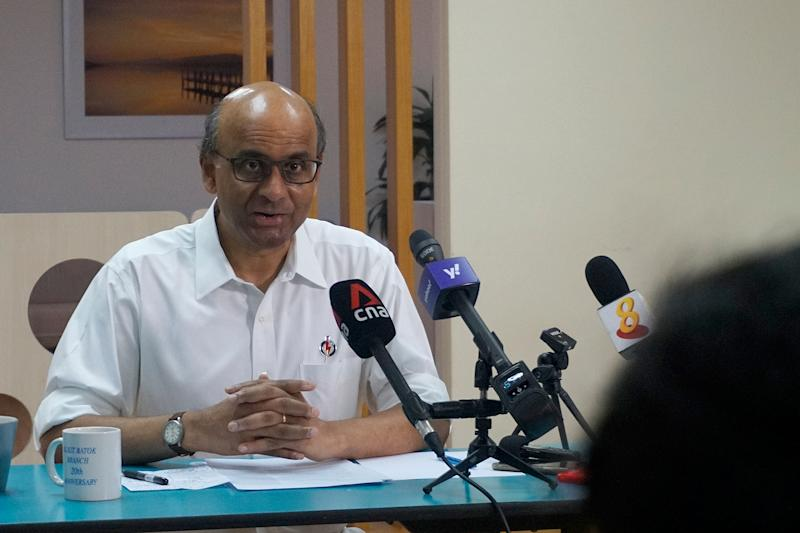 Senior Minister Tharman Shanmugaratnam speaking to the press during a media doorstop at the People's Action Party's branch office in Bukit Batok East on Monday (29 June). (PHOTO: Dhany Osman / Yahoo News Singapore)