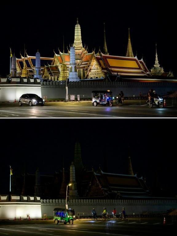 The Earth Hour event started with cities in Asia, including Bangkok, where the Grand Palace went dark