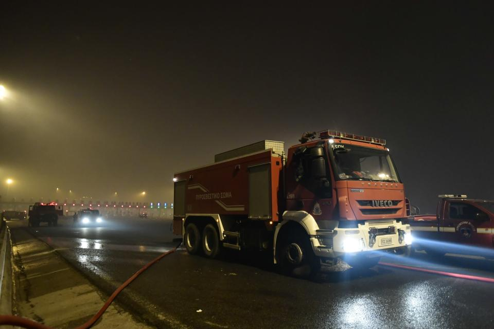 A fire truck operates during a wildfire in Afidnes area, northern Athens, Greece, Thursday, Aug. 5, 2021.Wildfires rekindled outside Athens and forced more evacuations around southern Greece Thursday as weather conditions worsened and firefighters in a round-the-clock battle stopped the flames just outside the birthplace of the ancient Olympics. (AP Photo/Michael Varaklas)
