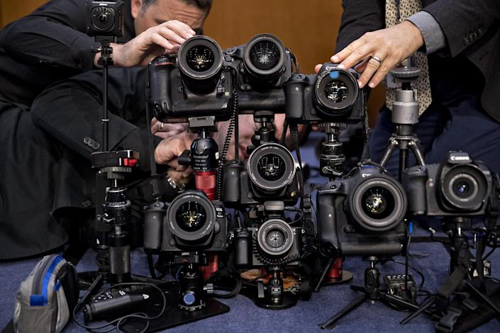 <p>Remote cameras are set-up in the Senate Intelligence Committee hearing room ahead of testimony by former Federal Bureau of Investigation (FBI) Director James Comey in Washington. (Photo: Andrew Harrer/Bloomberg via Getty Images) </p>