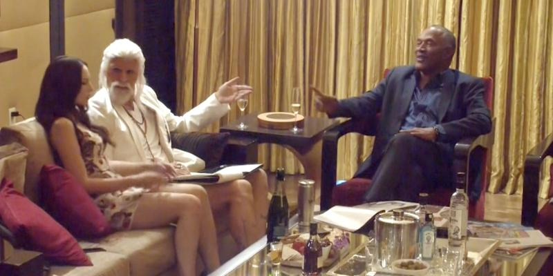 Sacha Baron Cohen interviews O.J. Simpson for Who is America? (Credit: Showtime)