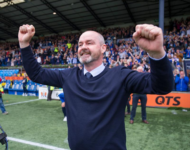 Kilmarnock manager Steve Clarke celebrates after his team secured a European place for next season after defeating Rangers 2-1 during the Ladbrokes Scottish Premiership match at rugby Park, Kilmarnock. (Photo by Ian Rutherford/PA Images via Getty Images)