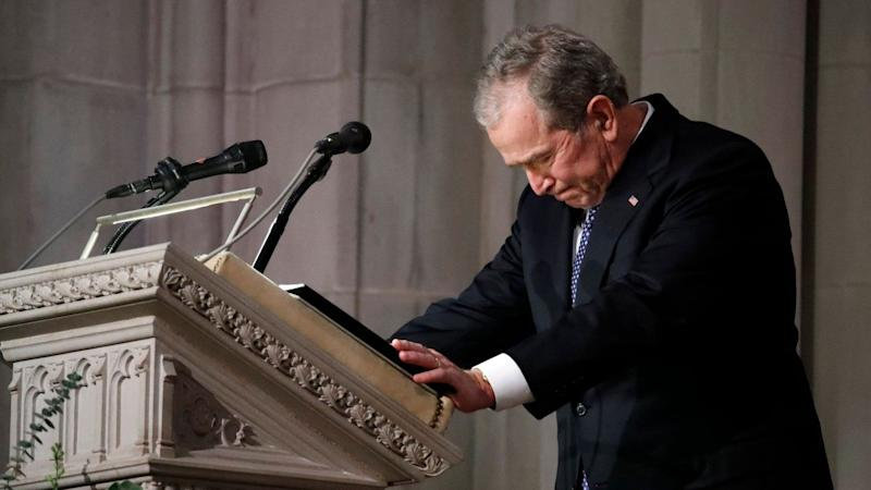 George W. Bush Breaks Down in Tears While Delivering Eulogy for Father George H.W. Bush