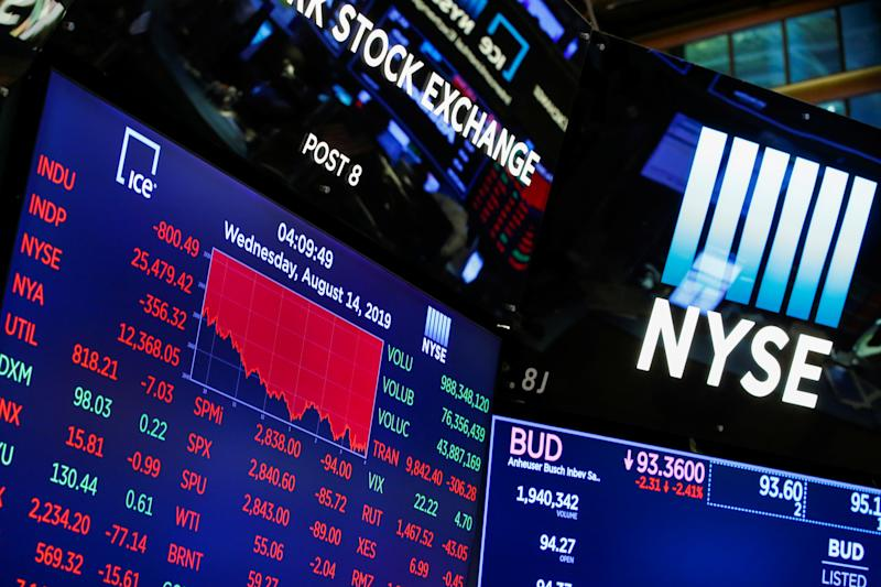 A screen shows the numbers after the closing bell at the New York Stock Exchange (NYSE) in New York, U.S., August 14, 2019. REUTERS/Eduardo Munoz