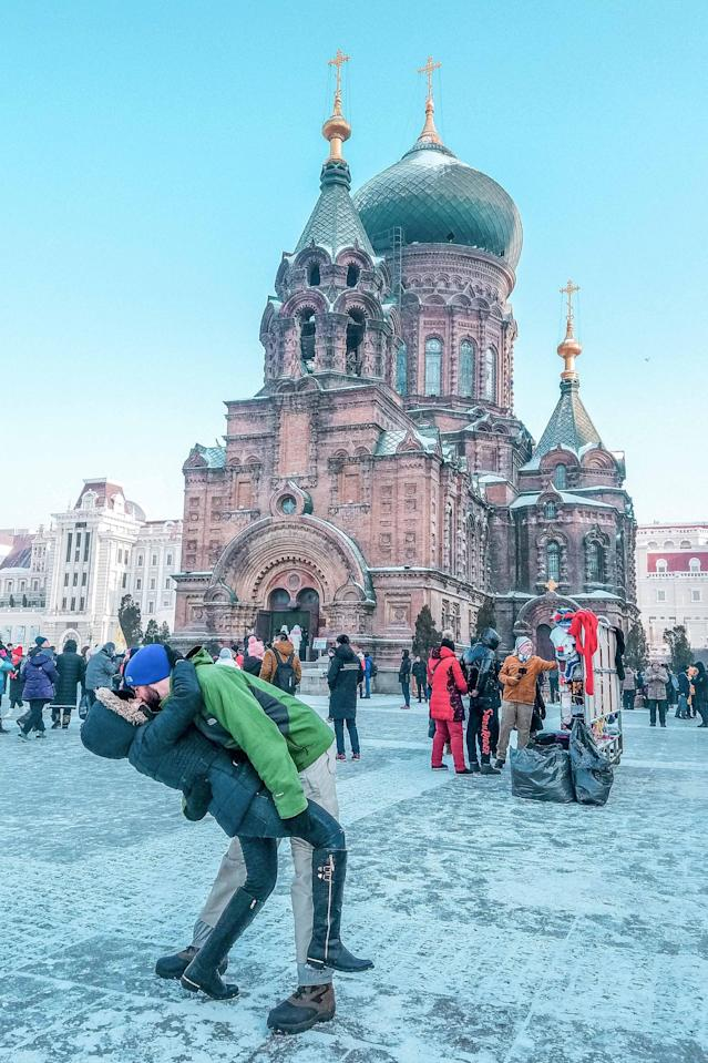 <p>The Switzers in Harbin, China, at St. Sophia Cathedral. (Caters News) </p>