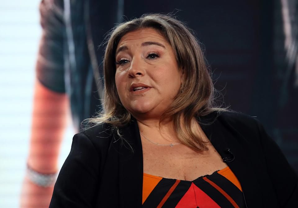 """PASADENA, CALIFORNIA - JANUARY 18: Jo Frost of """"Supernanny"""" speaks during the Lifetime segment of the 2020 Winter TCA Tour at The Langham Huntington, Pasadena on January 18, 2020 in Pasadena, California. (Photo by David Livingston/Getty Images)"""