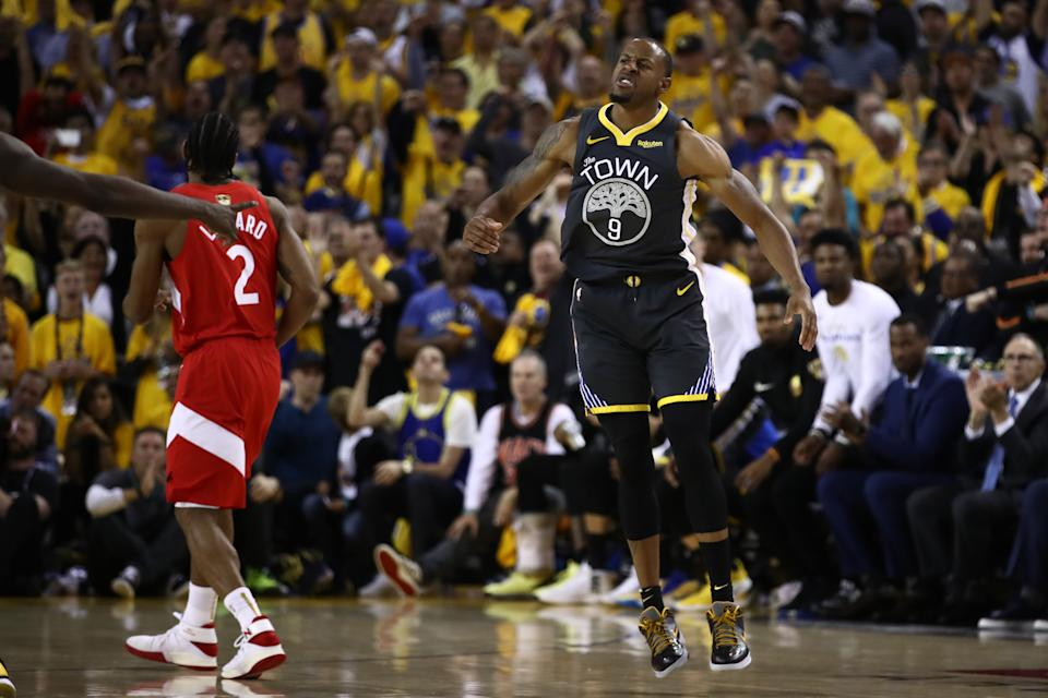 OAKLAND, CALIFORNIA - JUNE 13:  Andre Iguodala #9 of the Golden State Warriors celebrates the play against the Toronto Raptors in the second half during Game Six of the 2019 NBA Finals at ORACLE Arena on June 13, 2019 in Oakland, California. NOTE TO USER: User expressly acknowledges and agrees that, by downloading and or using this photograph, User is consenting to the terms and conditions of the Getty Images License Agreement. (Photo by Ezra Shaw/Getty Images)