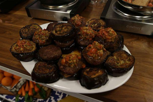 PHOTO: Burgers with eggplant disk 'buns' made by Alex Guarnaschelli. (ABC News)
