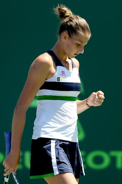 Karolina Pliskova of Czech Republic celebrates a point against Mirjana Lucic-Baroni of Croatia during their Miami Open quarter-final match, at the Crandon Park Tennis Center in Key Biscayne, Florida, on March 28, 2017