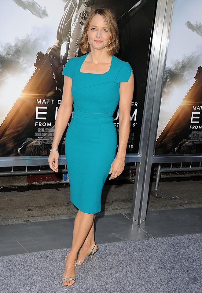 "WESTWOOD, CA - AUGUST 07:  Jodie Foster arrives at the ""Elysium"" - Los Angeles Premiere at Regency Village Theatre on August 7, 2013 in Westwood, California.  (Photo by Steve Granitz/WireImage)"