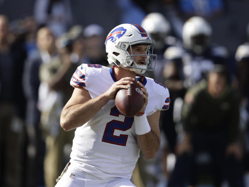 Buffalo Bills quarterback Nathan Peterman threw a pick-six in the first quarter of his first start. (AP)