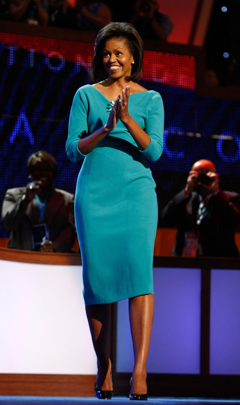 In a move that inspired bloggers to follow her style for the next eight years, Obama wore a teal dress by Maria Pinto (studded with a brooch by Erickson Beamon) to the Democratic National Convention in 2008, paving the way for the designer to develop something of an empire in her home base of Chicago, where, with the help of a wildly successful Kickstarter, she's launching her latest ready-to-wear foray, M2057.
