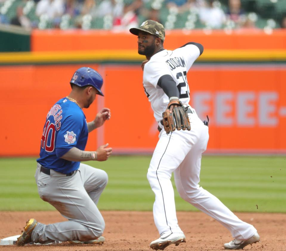 Tigers shortstop Niko Goodrum forces out during Cubs catcher Wilson Contreras during the third inning on Sunday, May 16, 2021, at Comerica Park.