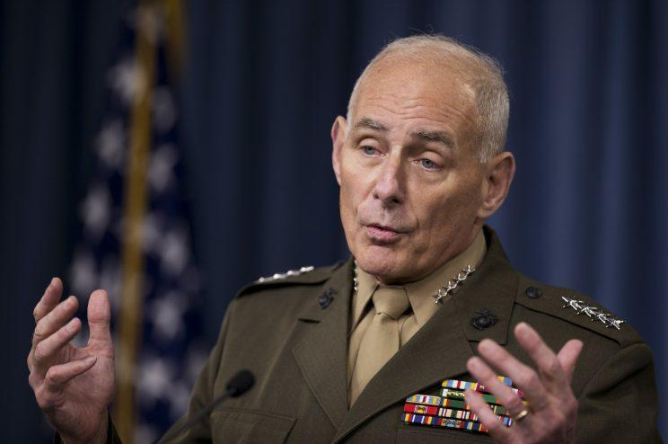 This photo taken on January 8, 2016 shows retired Gen. John Kelly talking to reporters at the Pentagon. Trump selected Kelly as secretary of the Department of Homeland Security, people close to the transition team said Wednesday, Dec. 7, 2016. (AP Photo / Manuel Balce Ceneta)