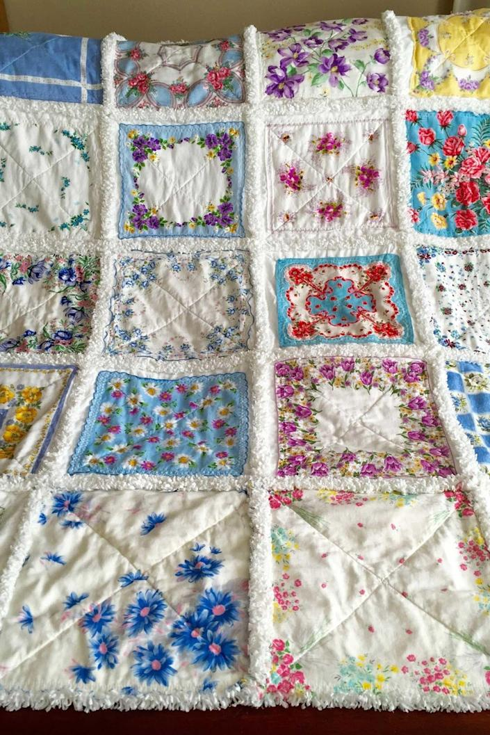 "<p>Create a darling rag quilt from beautiful old hankies. Cut pieces of flannel and fleece squares to back each hanky, then sew blocks of hankies together in a row, leaving a one-inch wide seam between each block. Snip perpendicular to the seams between each block to create the traditional ""rag"" style. <br></p><p><br></p><p><strong>See more at <a href=""http://zeedlebeezmom.blogspot.com/2013/01/how-to-make-handkerchief-rag-quilt.html%E2%80%8B"" rel=""nofollow noopener"" target=""_blank"" data-ylk=""slk:Zeedlebeez Mom"" class=""link rapid-noclick-resp"">Zeedlebeez Mom</a>.</strong></p>"