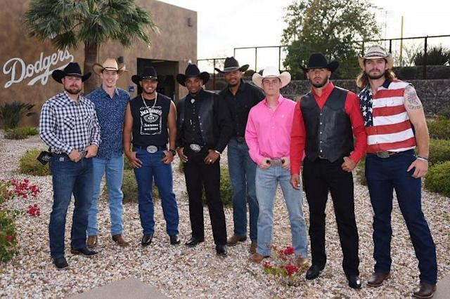 Dodgers rookies dressed up as cowboys for the team's rodeo fashion show. (Dodgers)