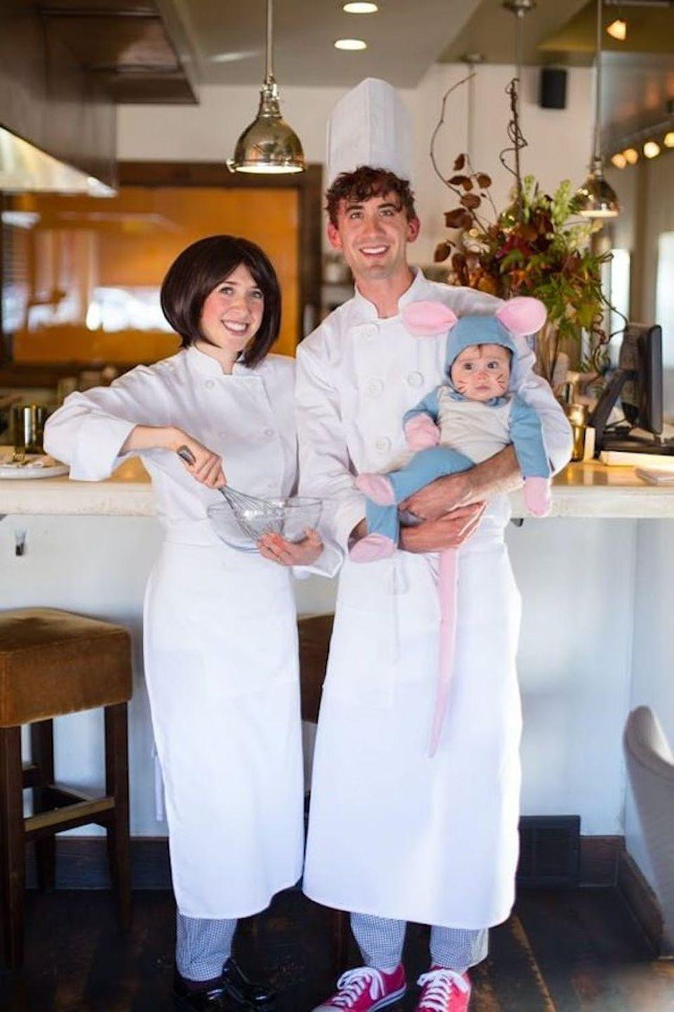 """<p>Chef hats, aprons, and a cute little mouse are all you need to look like you stepped out of this Pixar movie.</p><p><strong>Get the tutorial at <a href=""""http://thehouseofcornwall.blogspot.com/2014/10/bon-appetit_31.html"""" rel=""""nofollow noopener"""" target=""""_blank"""" data-ylk=""""slk:The House of Cornwall"""" class=""""link rapid-noclick-resp"""">The House of Cornwall</a>.</strong> </p>"""
