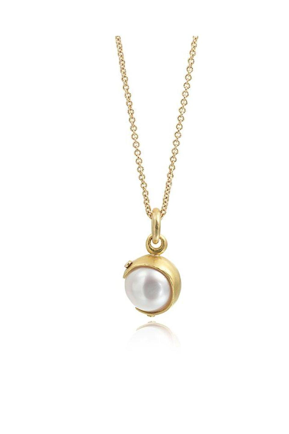 """<p><strong>Eli Halili</strong></p><p>elihalili.com</p><p><strong>$8000.00</strong></p><p><a href=""""https://elihalili.com/products/white-pearl-pendant?_pos=3&_sid=778e5ecea&_ss=r"""" rel=""""nofollow noopener"""" target=""""_blank"""" data-ylk=""""slk:Shop Now"""" class=""""link rapid-noclick-resp"""">Shop Now</a></p><p>Designer Eli Halili takes cues from ancient Middle Eastern designs to create his modern jewels in Brooklyn. A hand-forged gold setting encases a pearl pendant in this strong, yet delicate, necklace. </p>"""