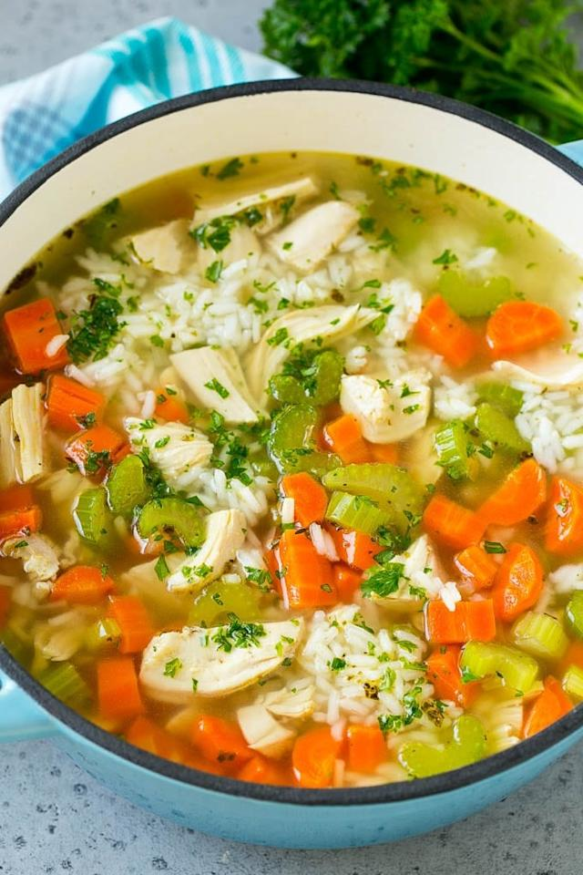 "<p>A hearty bowl of classic <a href=""http://www.dinneratthezoo.com/chicken-and-rice-soup/"" target=""_blank"" class=""ga-track"" data-ga-category=""Related"" data-ga-label=""http://www.dinneratthezoo.com/chicken-and-rice-soup/"" data-ga-action=""In-Line Links"">Chicken and Rice Soup</a> will keep their bellies full all night long.</p>"