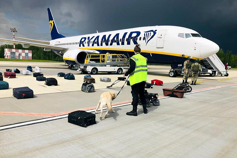 The Ryanair jet onboard which Ms Sapega and Mr Protasevich were travelling when it was diverted to Minsk in May (AP)