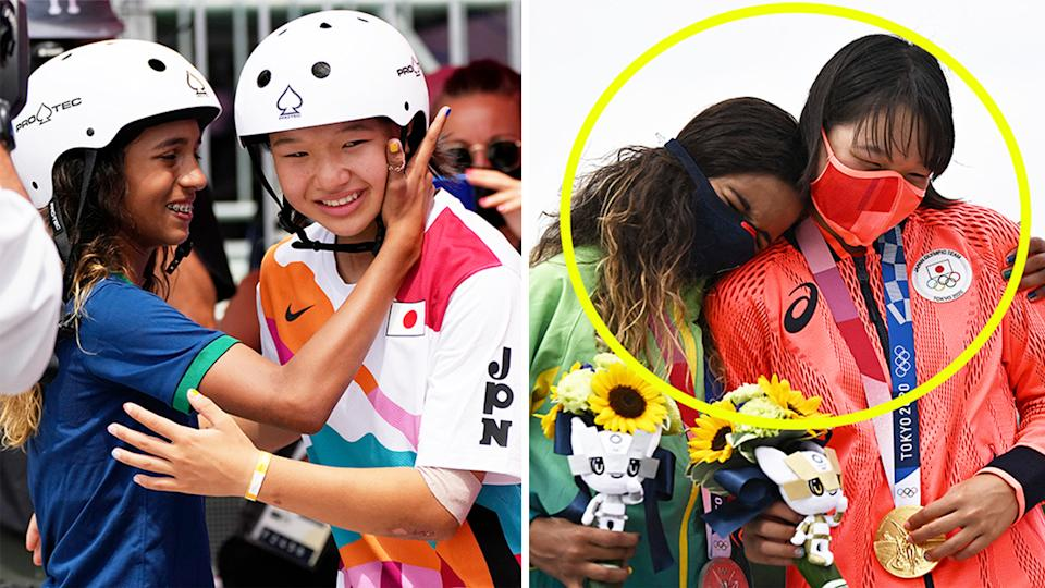 Silver medalist Rayssa Leal (pictured left) embraces gold medalist Momiji Nishiya (pictured right) on the podium in the women's street skateboard.