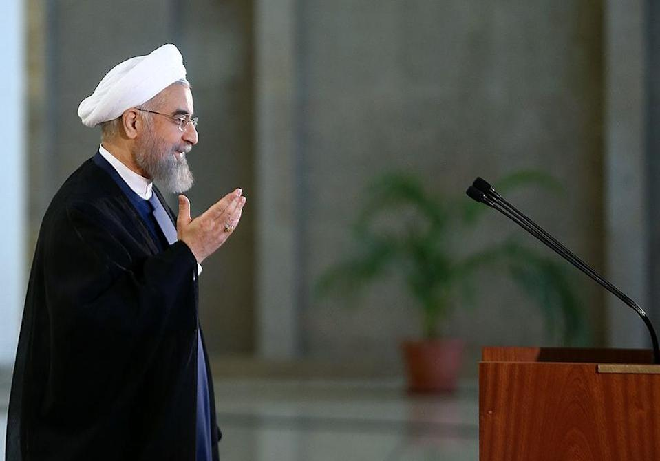 A picture released on July 14, 2015 by the official website of the Iranian President Hassan Rouhani shows him about to deliver a statement in Tehran (AFP Photo/)