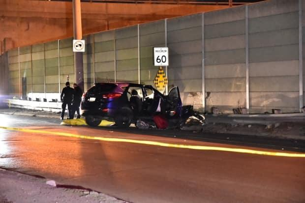 Police say that when they arrived, they found the driver with life-threatening injuries. He died at the scene. (Jeremy Cohn/CBC - image credit)