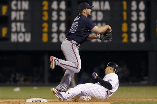 Atlanta Braves second baseman Dan Uggla, top, throws over Colorado Rockies' Carlos Gonzalez after forcing him out at second base on the front end of a double play hit into by Troy Tulowitzki to end the sixth inning of a baseball game in Denver, Saturday, May 5, 2012. (AP Photo/David Zalubowski)