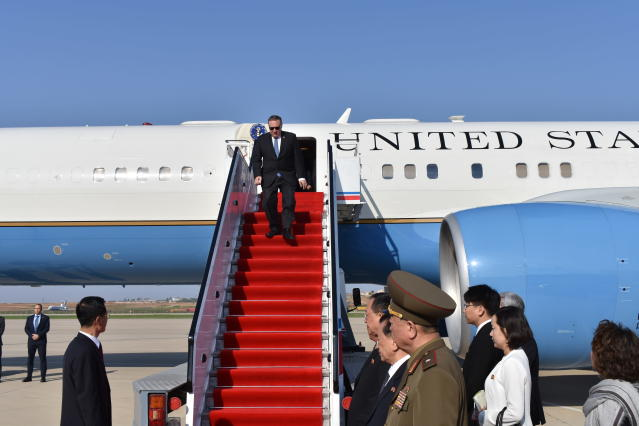 <p>Secretary of State Mike Pompeo exits his plane on arrival in Pyongyang, North Korea, on Wednesday, May 9, 2018. (Photo: Matthew Lee, Pool/AP) </p>