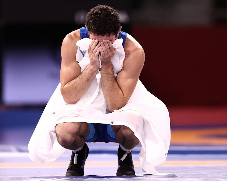<p>Team ROC's Zaurbek Sidakov reacts to his gold medal victory in the Men's 74kg Freestyle Wrestling Final. </p>