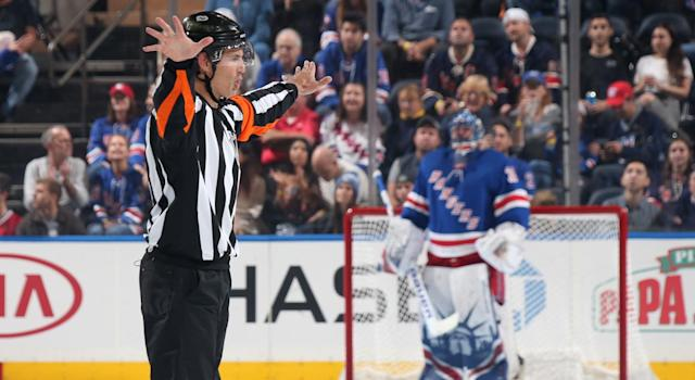 Wes McCauley is one of the best and maybe the most recognizable referee in the NHL today for his exuberance on the ice. (Photo by Jared Silber/NHLI via Getty Images)