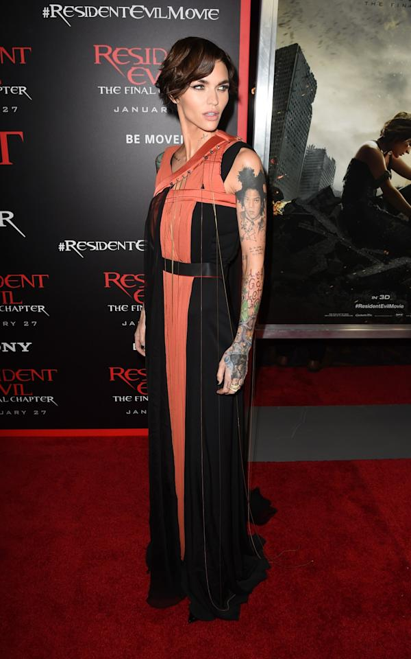<p>Ruby showed off her tattoos in a a draped Vionnet gown. Seriously, nothing looks bad on this woman. <i>[Photo: Getty]</i> </p>